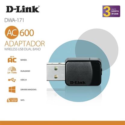 Imagem de ADAPTADOR D-LINK WIRELESS USB NANO AC600 DUALBAND - DWA-171