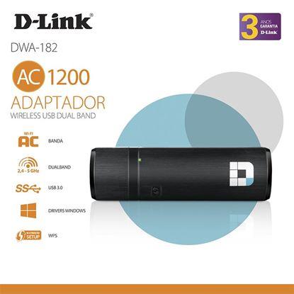 Imagem de ADAPTADOR D-LINK WIRELESS USB AC 1200 DUALBAND - DWA-182