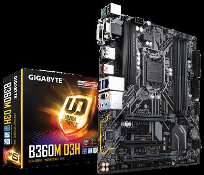 Imagem de MB P/INTEL, LGA1151 8ª GERAÇÃO, CHIPSET B360, 64GB, 4 DDR4, uATX - B360M D3H