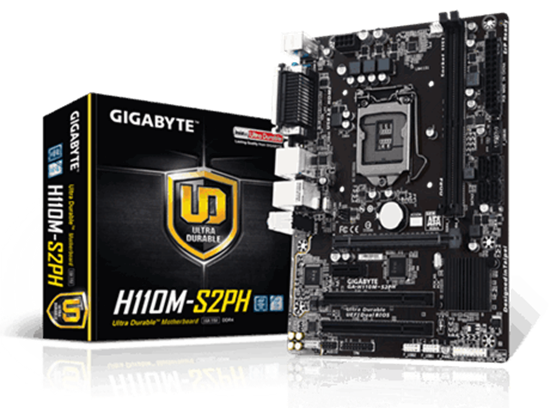 Picture of MOTHERBOARD GIGABYTE PARA INTEL - H110 - GA-H110M-S2PH DDR4