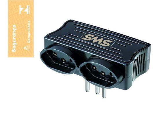 Picture of CARREGADOR 2 USB + 2 TOMADAS PRETO