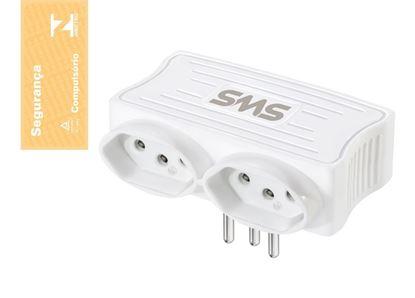 Imagem de CARREGADOR 2 USB + 2 TOMADAS BRANCO