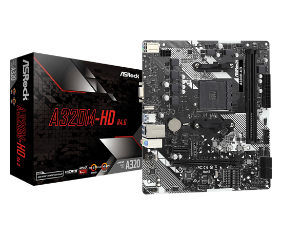 Picture of MOTHERBOARD ASROCK A320M-HD R4.0, CHIPSET A320, AMD AM4, MATX, DDR4